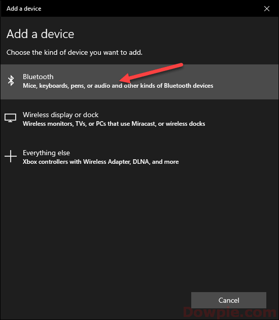 Select to Add Bluetooth device option