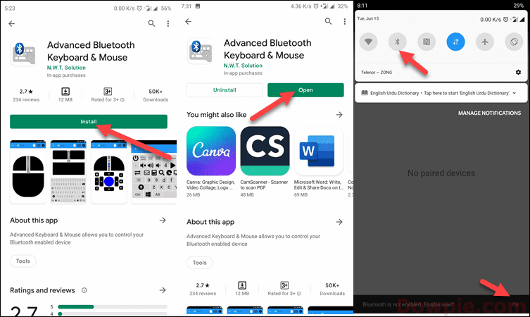 Tap to Install and Open App then Enable Bluetooth