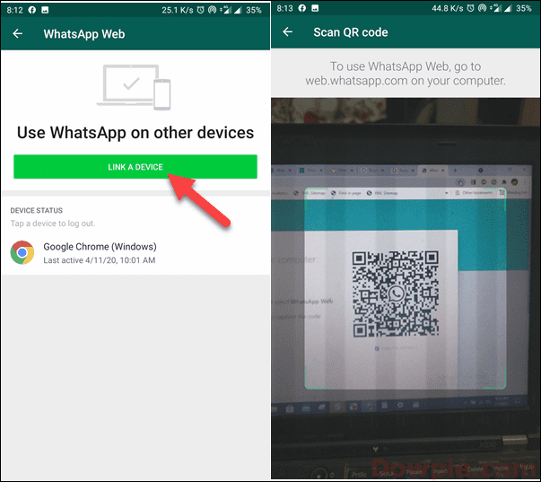 Tap on Link A Device and Scan Bar Code