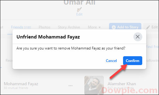 Confirm Your action to Unfriend Someone