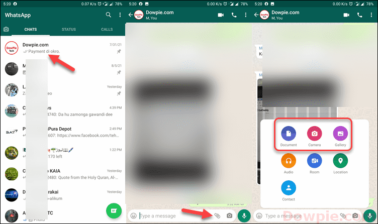 Open WhatsApp Chat and Find attach a Photo or Video