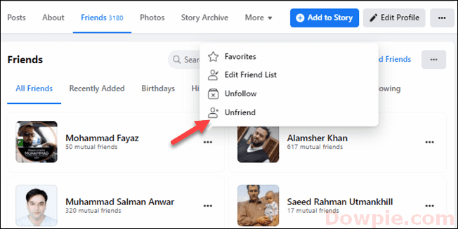 Select Unfriend option from the Menu