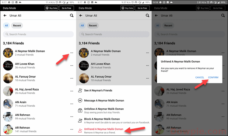 Tap on More option, Unfriend, and Confirm your action