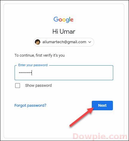Enter Your Google Account Password and Click on Next option