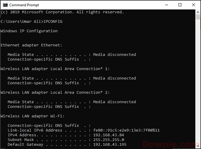 Locate the Default Gateway by using the ipconfig command in the command prompt