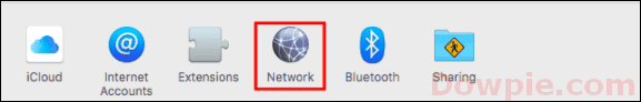 Open System Preferences on your Mac and choose the Network option
