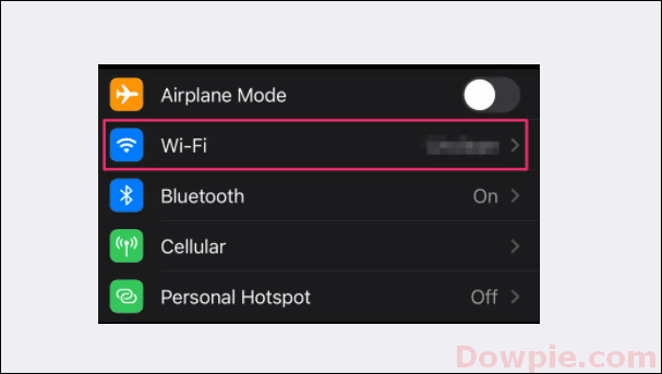Tap on the Wi-Fi option