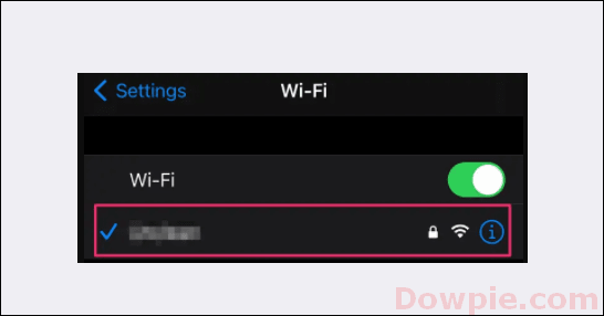tap on the name of your Wi-Fi Network option