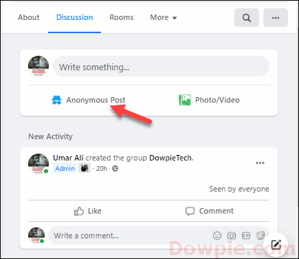 Click on the Anonymous Post option to create your new post