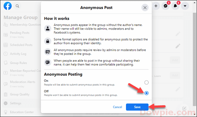 Click to Turn Off the Anonymous Posting Feature and Save it
