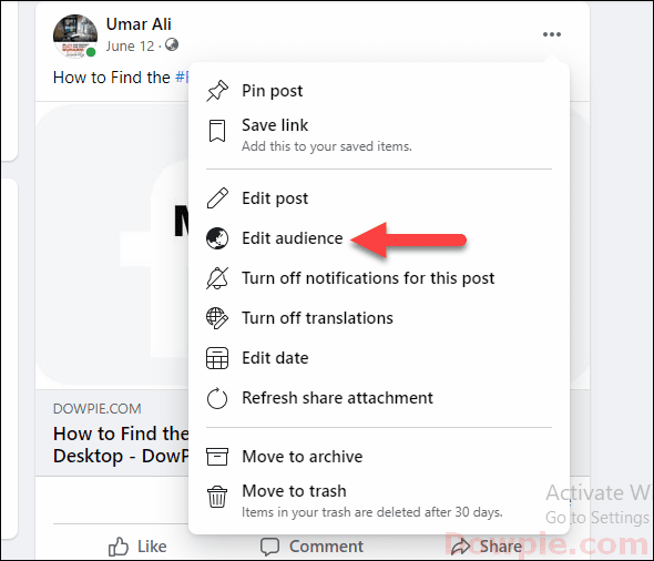 Select Edit Audience option from Menu