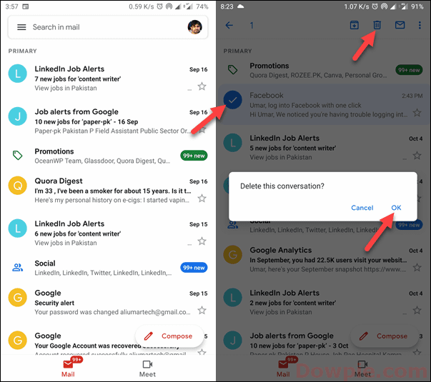 Tap on Any Email, Select Delete icon and OK