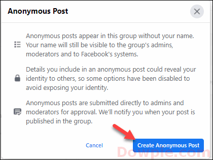Then Click on Create Anonymous Post option