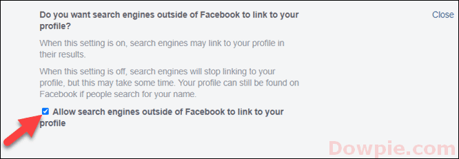 Uncheck the Allow search engines outside of Facebook to link to your profile box